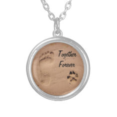 Pet & Footprint in the Sand Silver Plated Necklace at Zazzle