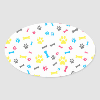 Pet Footprints Customizable Background Color Oval Sticker