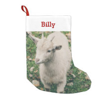 Pet Goat Lover Photo & Name Personalized Small Christmas Stocking