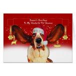pet groomer christmas holiday card with basset hou