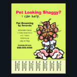 """Pet Groomer Dog Grooming Personalized Tear Sheet<br><div class=""""desc"""">Promote your pet grooming business with these full color eye-catching flyers that you personalize with your own info. Original design by Andie, illustrator and creator of Off-Leash Art™, featuring her hand drawn Yorkie illustration. To change the background color, click the orange &quot;customize it!&quot; button below the product image, then on...</div>"""