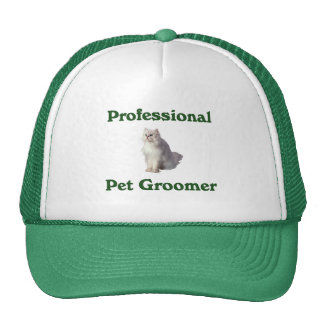 Pet Groomer Hat with beautiful white cat