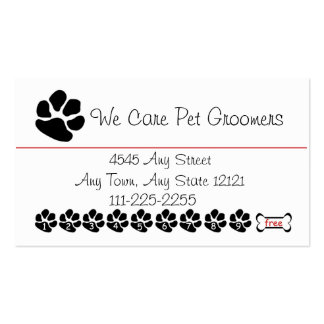 Pet  Groomer or Shop Customer Loyalty Punch Card Business Card
