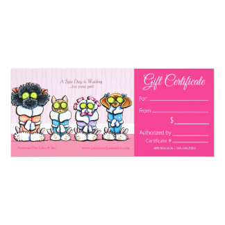 Pet Groomer Spa Dogs Cat Robes Gift Certificate Card