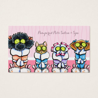 Pet Groomer Spa Dogs Cat Robes Pink Appointment Business Card