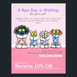"""Pet Groomer Spa Dogs Cat Robes Pink Coupon Ad Flyer<br><div class=""""desc"""">Promote your pet grooming business with these full color eye-catching flyers that you personalize with your own info. Original design by Andie,  illustrator and creator of Off-Leash Art™,  featuring her hand drawn dogs and cat in robes illustration.</div>"""