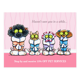Pet Groomer Spa Dogs Cat Robes Pink Coupon Mailer Postcard