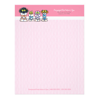 Pet Groomer Spa Dogs Cat Robes Pink Letterhead Flyer