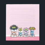 """Pet Groomer Spa Dogs Cat Robes Pink Lined Notepad<br><div class=""""desc"""">Customize this pretty pet spa notepad with your pet business info and use as memos and personal notes to customers, announcements and memos. Coordinates with our Guest Book Binder (sold separately) along with other products which you&#39;ll find in our store. Original design by Andie, illustrator and creator of Off-Leash Art™,...</div>"""