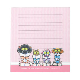 Pet Groomer Spa Dogs Cat Robes Pink Lined Notepad
