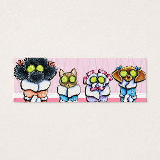 Pet Groomer Spa Dogs Cat Robes Pink Mini Business Card