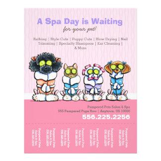 "Pet Groomer Spa Dogs Cat Robes Pink Tear Sheet 8.5"" X 11"" Flyer"