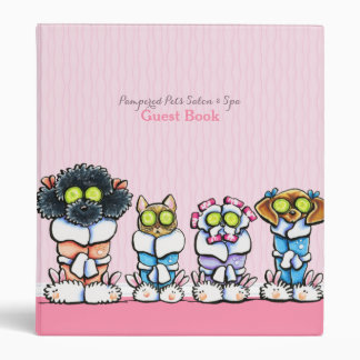 Pet Groomer Spa Guest Book Dogs Cat Robes Pink Binder