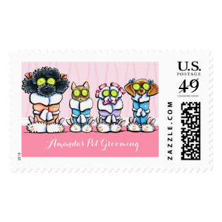 Pet Groomer Spa Salon Dogs Cat in Robes Pink Postage