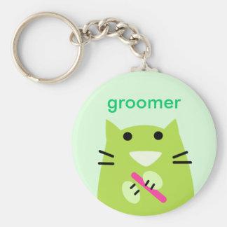 Pet Groomer's Basic Round Button Keychain