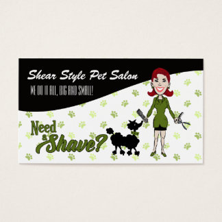 Pet Groomer's Need a Shave in Sage Green Business Card