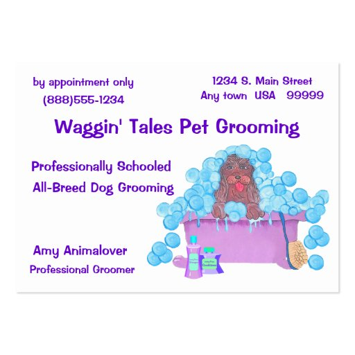 Pet grooming business and appointment card large business for Pet grooming business cards