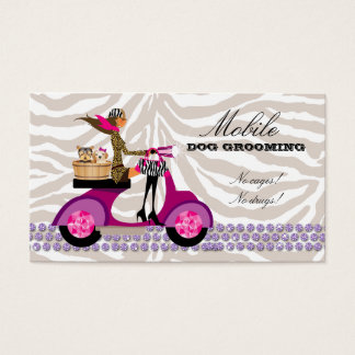 Pet Grooming Business Card Zebra Scooter Brown