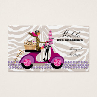 Pet Grooming Business Card Zebra Scooter Cupcakes