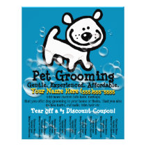 Pet Grooming. Customizable Promotional Tear sheet