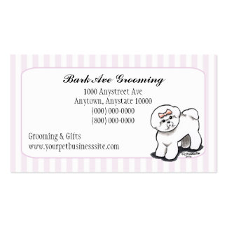 Pet Grooming Dog Groomer Spa Fancy Stripes Double-Sided Standard Business Cards (Pack Of 100)