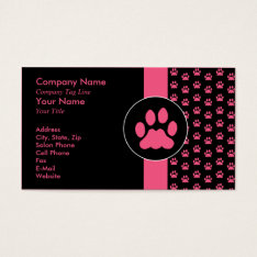 Pet Grooming Pawprint Business Card at Zazzle