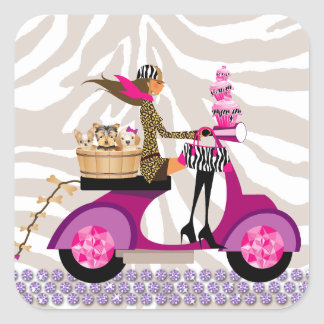 Pet Grooming Stickers Scooter Woman Dogs Zebra