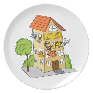 Pet Hotel Cartoon Plate