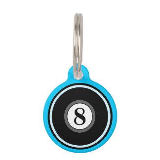 Pet ID Tag - 8 Ball - Bright Blue & Black