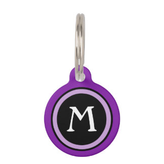 Pet ID Tag - Black & Purple Monogram