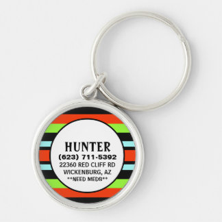 Pet ID Tag - Black Red Green Horizontal Stripes Silver-Colored Round Keychain