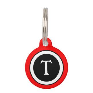 Pet ID Tag - Bright Red, White & Black Monogram