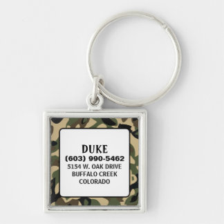 Pet ID Tag - Camoflauge - Square Silver-Colored Square Keychain