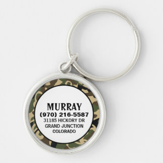 Pet ID Tag - Camouflage Colors Silver-Colored Round Keychain