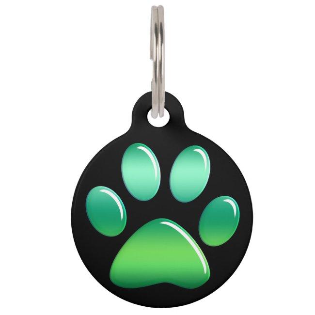 Pet ID Tag - Candy Greens Paw Print