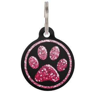 Pet ID Tag - Dark Pinks Bling Paw Print on Black