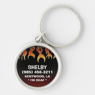 Pet ID Tag - Flames on Black & Maroon Silver-Colored Round Keychain