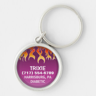 Pet ID Tag -  Flames on Magenta Silver-Colored Round Keychain