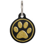 Pet ID Tag - Gold Bling Paw Print on Black