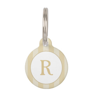 Pet ID Tag - Gold Stripes with Monogram