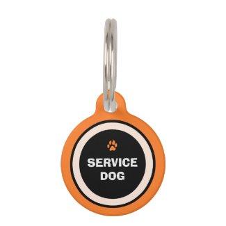 Pet ID Tag - Orange & Black- Service Dog