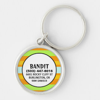 Pet ID Tag - Orange & Green Horizontal Stripes Silver-Colored Round Keychain