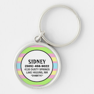 Pet ID Tag - Pink Pastel Stripes Silver-Colored Round Keychain
