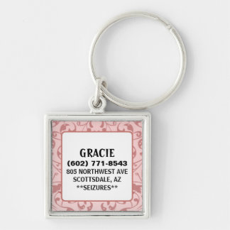 Pet ID Tag - Pink Vintage Design - Square Silver-Colored Square Keychain