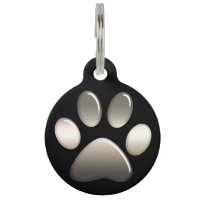 Pet ID Tag - Platinum Paw Print on Black