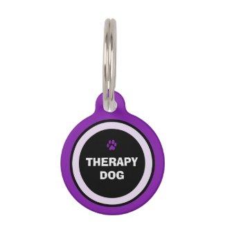 Pet ID Tag - Purple & Black- Therapy Dog