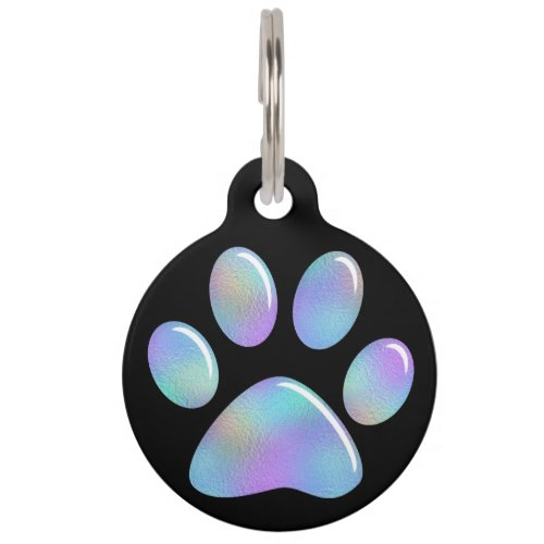 Pet ID Tag _ Rainbow Iridescent Paw Print