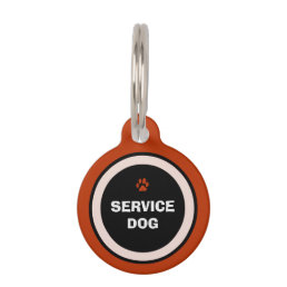 Pet ID Tag - Red & Black- Service Dog