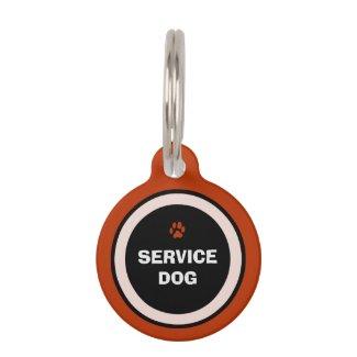 Pet ID Tag - Red & Black- Service Dog