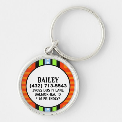 Pet ID Tag - Red Green & Blue Deco Design Key Chains
